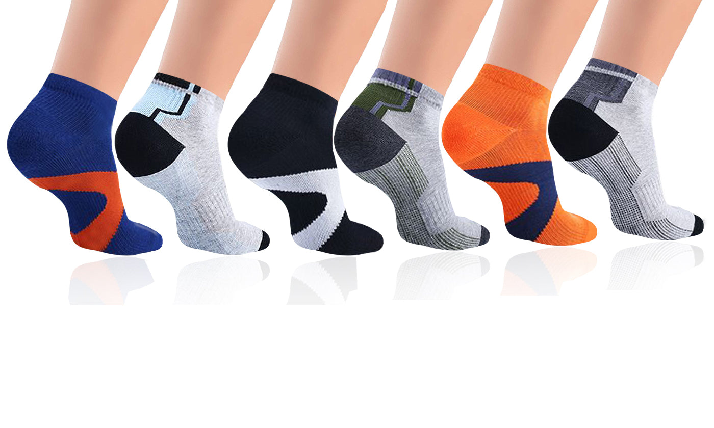 6-Pairs: Unisex High Compression Ankle Length Socks