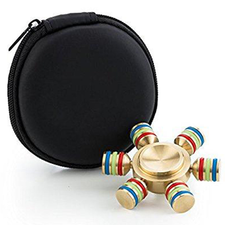 LAX Metallic 6-Sided Fidget Spinner with case