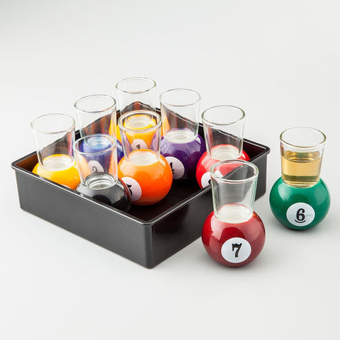 9 Piece Pool Game Shot Glass Set with Storage Tray