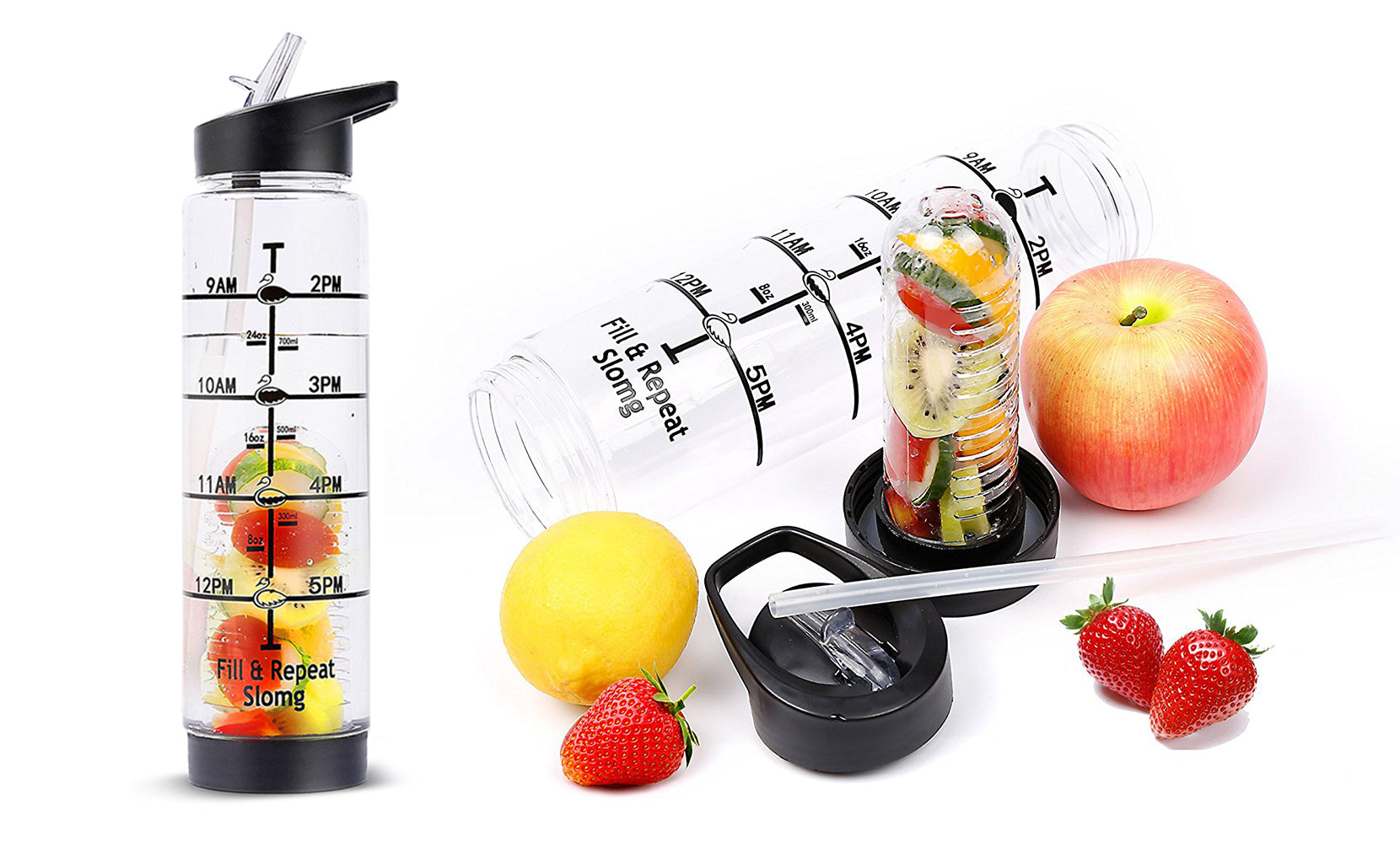 32oz  Time Marking Fruit Infusion Water Bottle