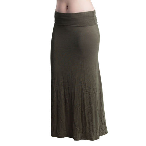 Womens Fold Over Waist Maxi Skirt