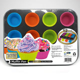 FineLife Muffin Pan with 12 Silicon Cupcake Holders