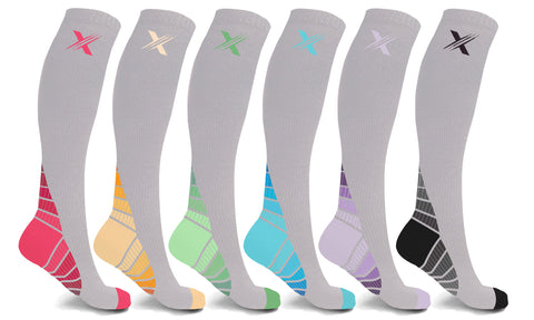 6-Pairs: Knee-High Neon Compression Socks