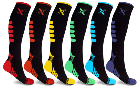 6-Pairs: Graduated Mid-Calf Compression Socks for Men and Women