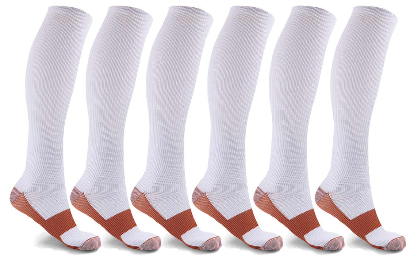 6-Pairs: Unisex Copper-Infused Knee High Compression Socks