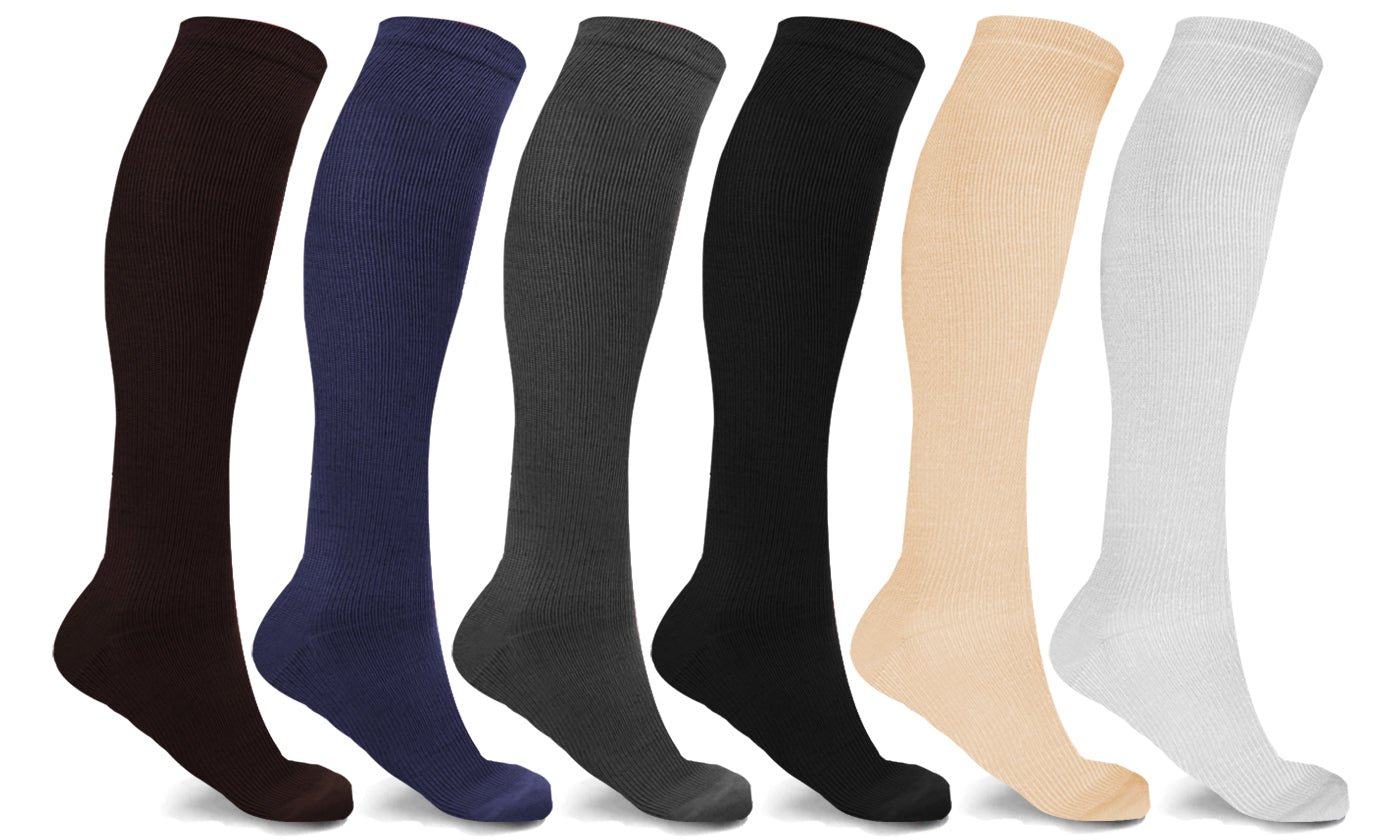 6-Pairs: Knee-High Autumn Color Socks