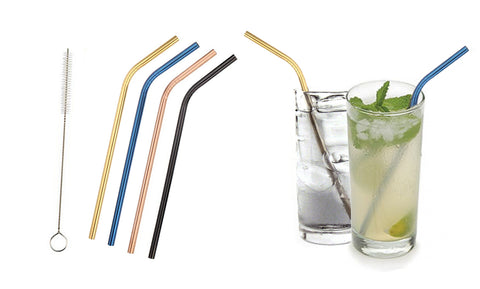 Colored Platinum  Stainless Steel Straws with Brush (5-Pack)