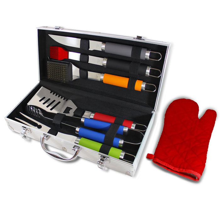 7-Piece BBQ Set with Colored Handles and Aluminum Storage Case