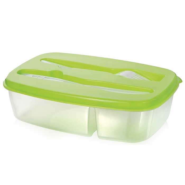 8-Piece Set: Two Compartment Lunch Box with Utensils