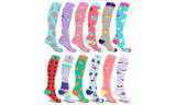 Novelty Knee-High Printed Compression Socks (3-Pairs or 6-Pairs)