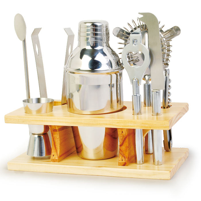 9 Piece Stainless Steel Cocktail Set with Wooden stand