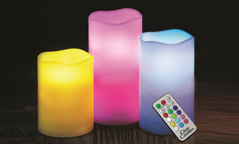 Color-Changing LED Flameless Candles with Remote (3-Pack)