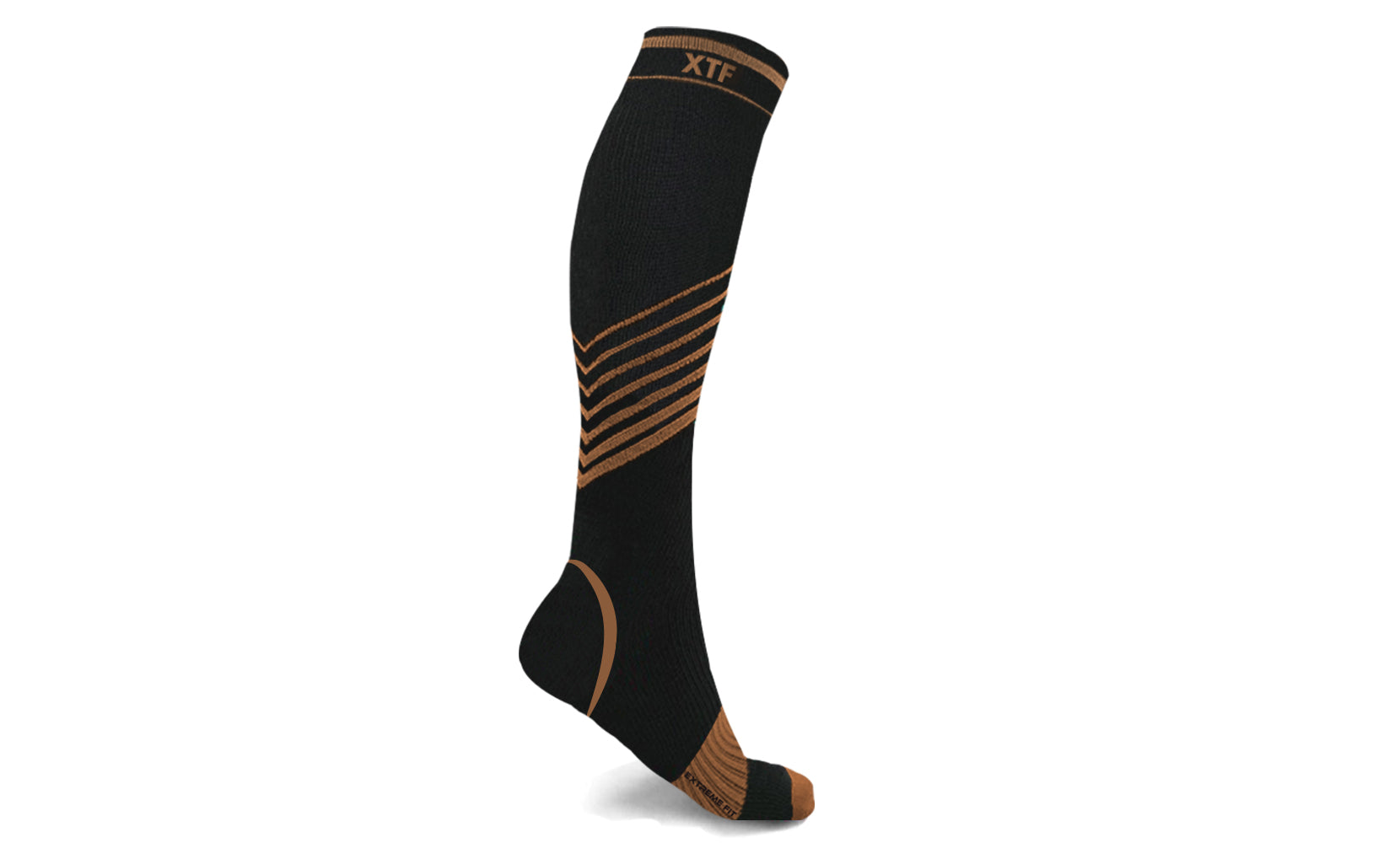 Copper-Infused V-Striped Knee-High Compression Socks(1-Pair)