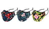 Two-Layered Floral Collection Reusable Face Mask With Adjustable Earloop (3-Pack)
