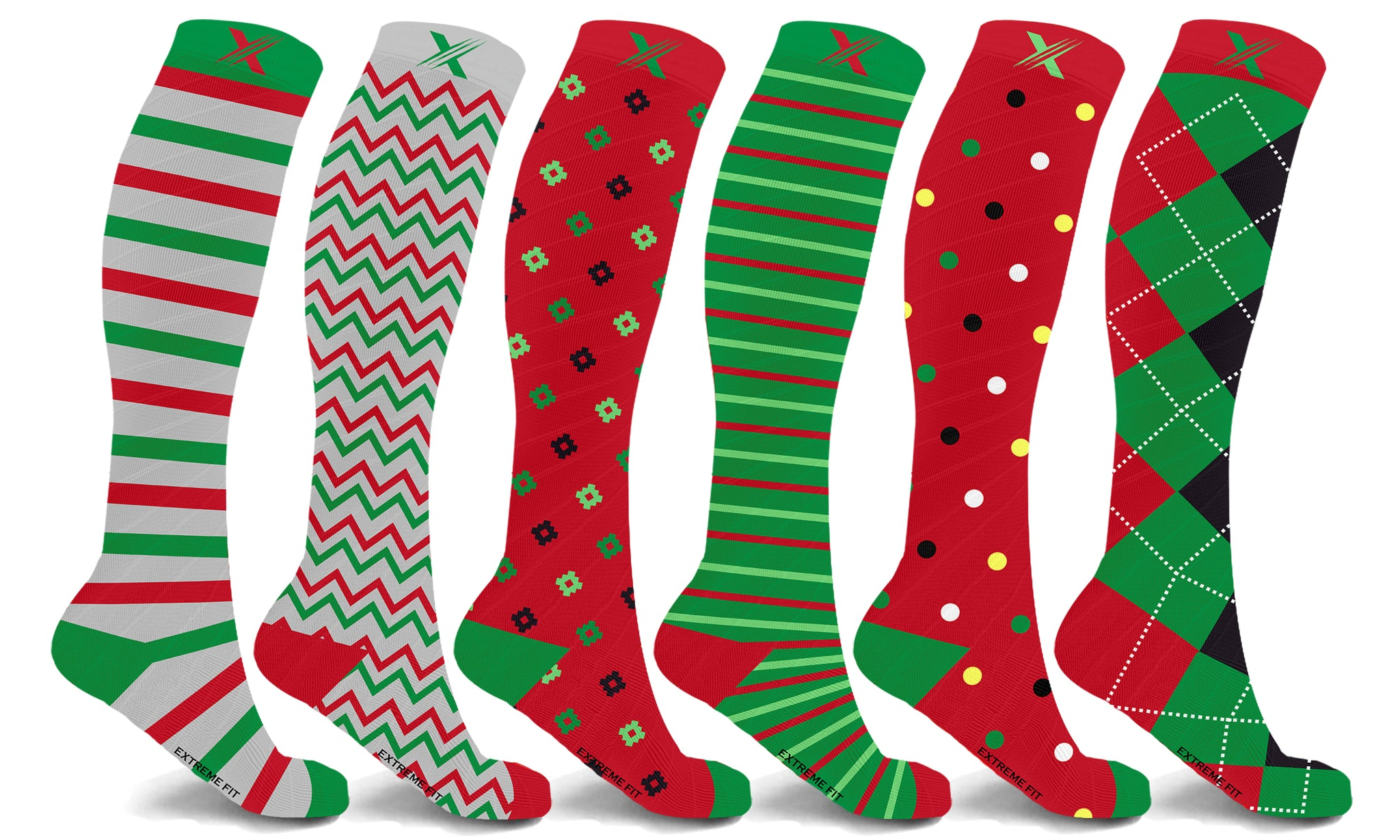 Christmas Themed Knee High Compression Socks (6-Pairs)