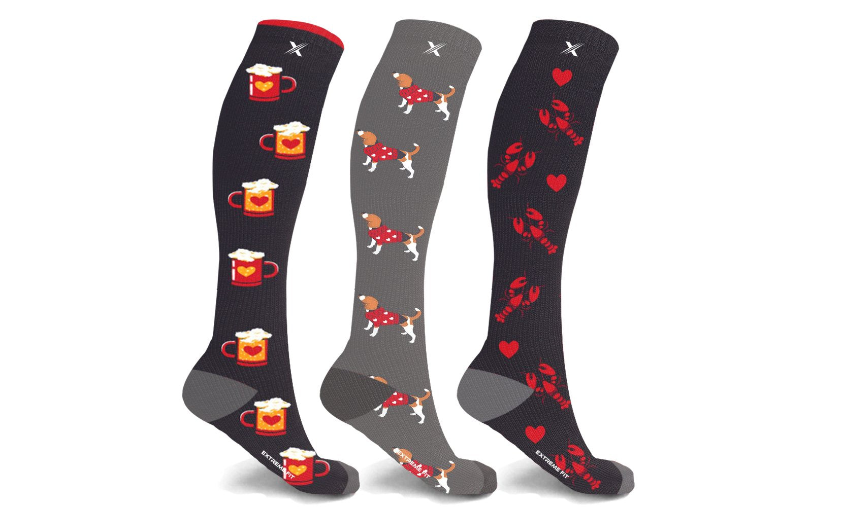Boyfriend and Girlfriend Knee-High Compression Socks (3-Pairs or 6-Pairs)
