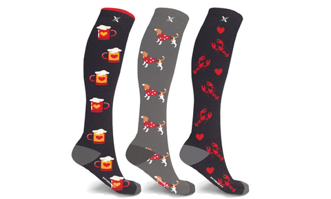 Valentines Fun Knee-High Compression Socks (3-Pairs)