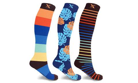 Colorful Knee High Compression Socks (3-Pairs)