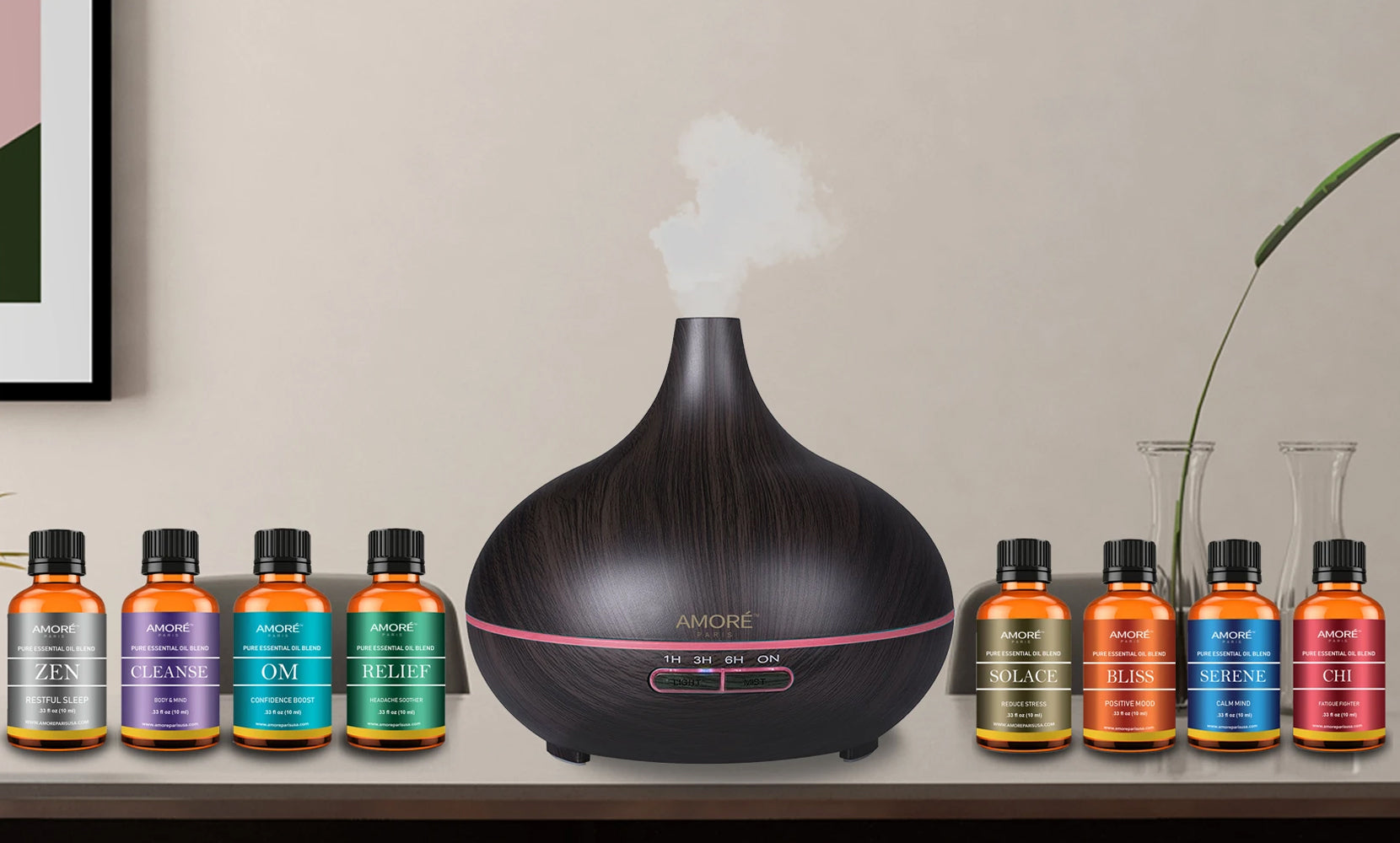 Ultrasonic Diffuser with Optional Essential Oil Gift Set (9-Pack)