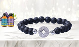 Women's Silver Charm Aromatherapy Diffuser Bracelet with Two Optional Essential Oils