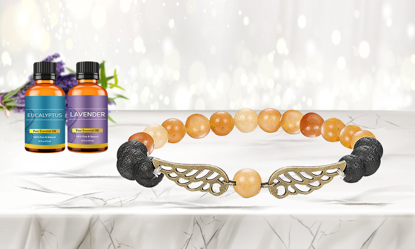 Mixed Lava Stone Chakra Diffuser Bracelet with Two Optional Essential Oils