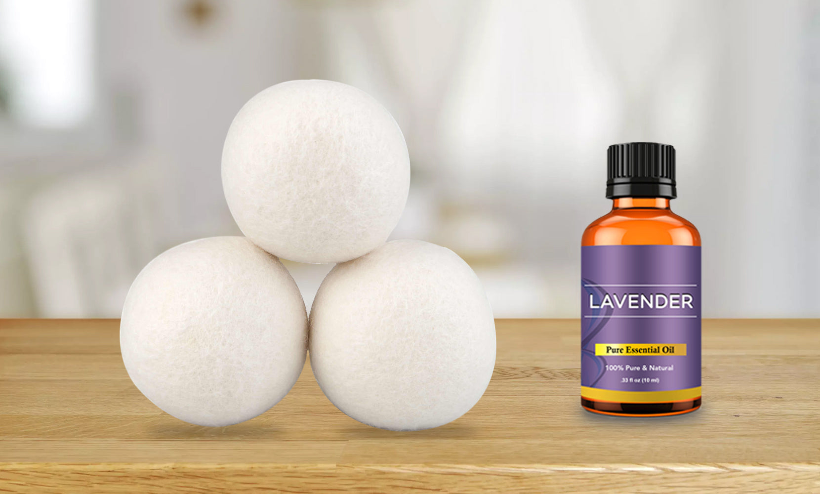 Wool Dryer Balls with Two Optional Essential Oils