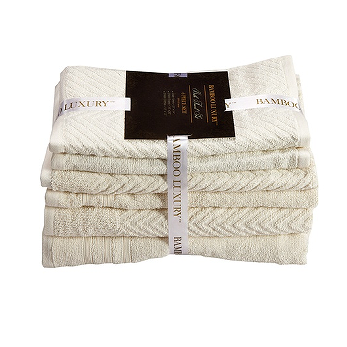 6-Piece Bamboo Luxury 100% Cotton Towel Set