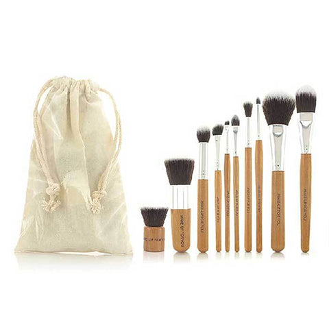 10-Piece : Bamboo Makeup Brush Set with Storage Pouch
