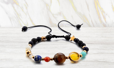 Aromatherapy Solar System Lava Stone Diffuser Bracelet with Optional Essential Oils