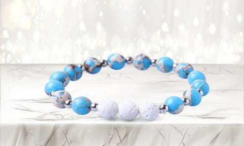 White Lave Stone Diffuser Bracelet with Two Optional Essential Oils