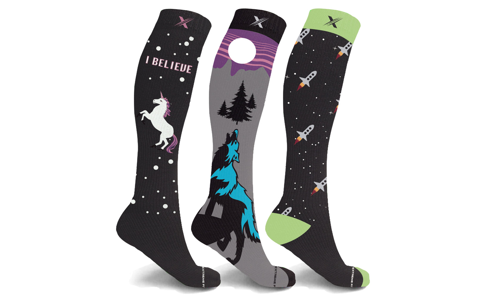Glow in the Dark Compression Socks (3-Pairs)