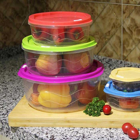 10-Piece : BPA Free Food Storage Container Set with Color Coded Lids