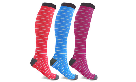 3-Pairs : Fun Pattern Energizing Compression Socks