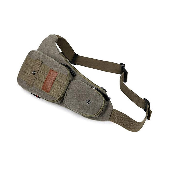 Canvas Shoulder Bag with Multiple Compartments