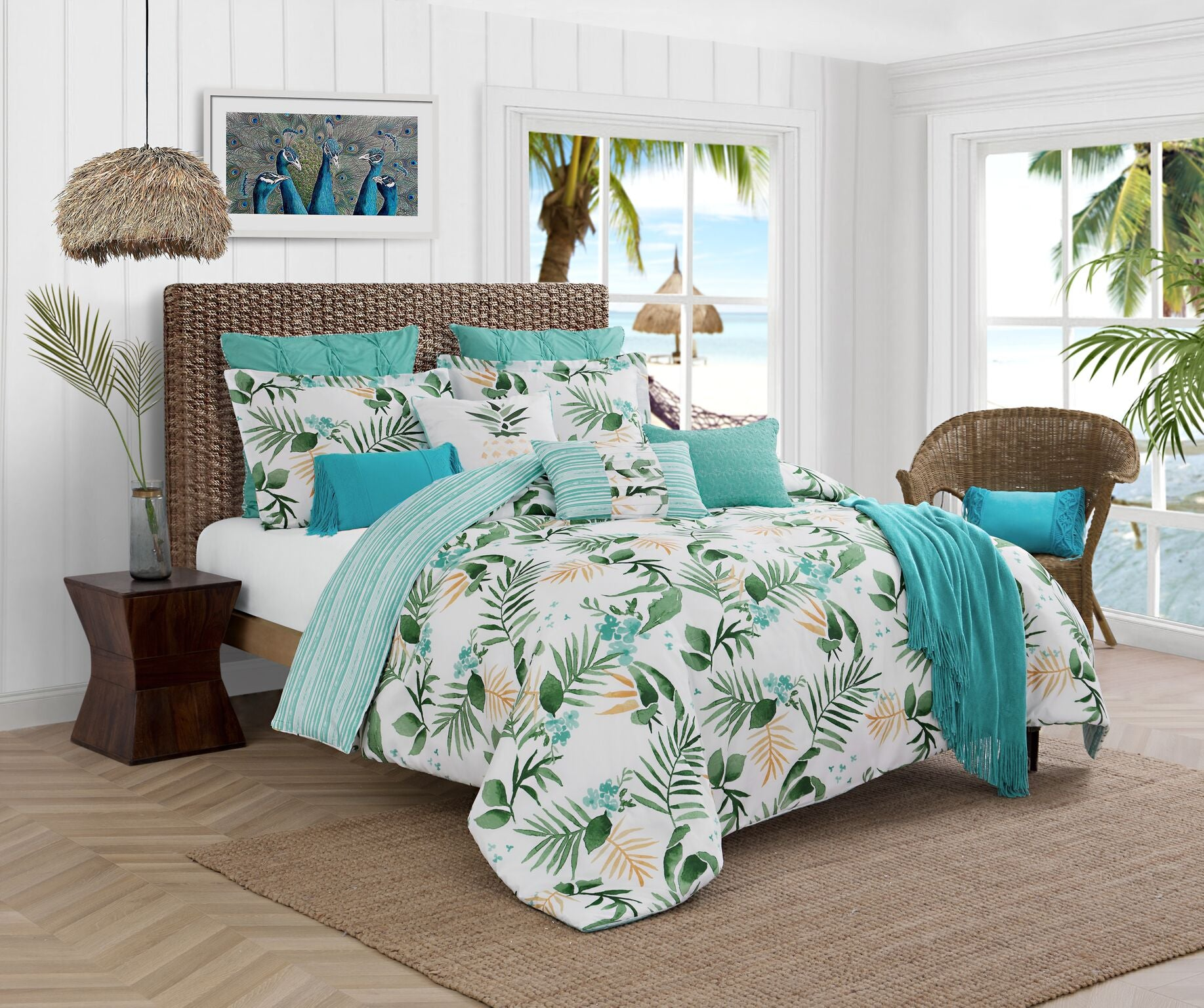 Caribbean Joe Reversible Printed Comforter Set (4-Piece)
