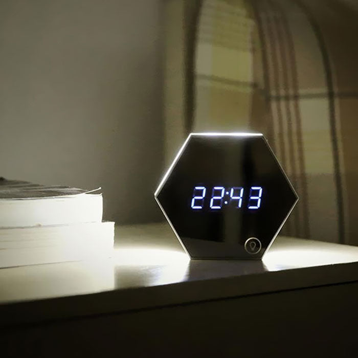 Multi-Function Mirror Digital Wall Alarm Clock with Night Light and Thermometer