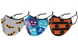 Kid's Halloween Themed Dual-Layer Reusable Face Masks With Adjustable Earloop (3-Pack)