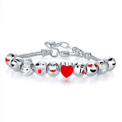 Emoji Charm Bracelets in White Gold Plated