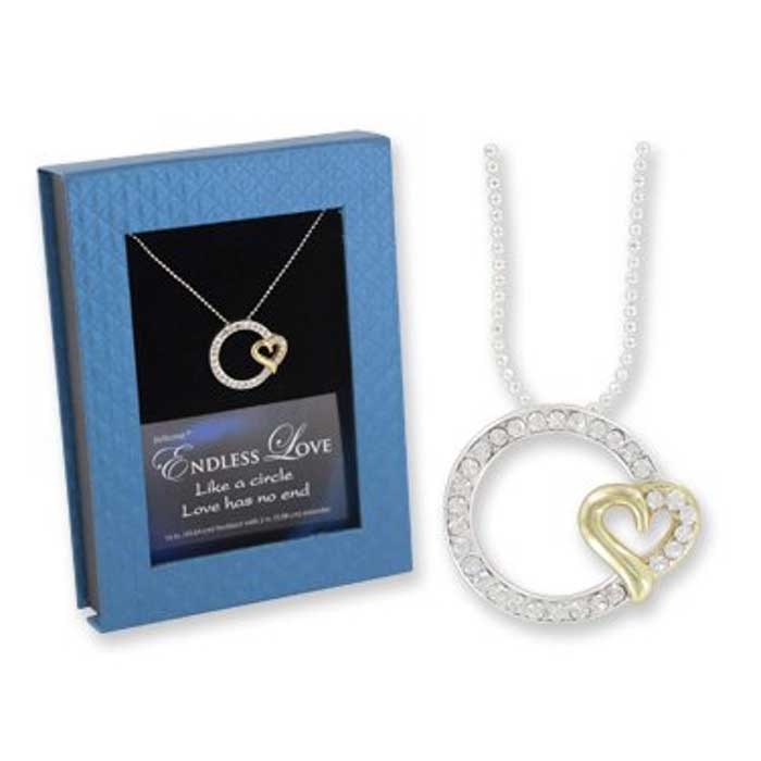 Rhinestone Endless Love Pendant in Sterling Silver