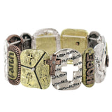 Faith Tri-Tone Stretch Bracelet