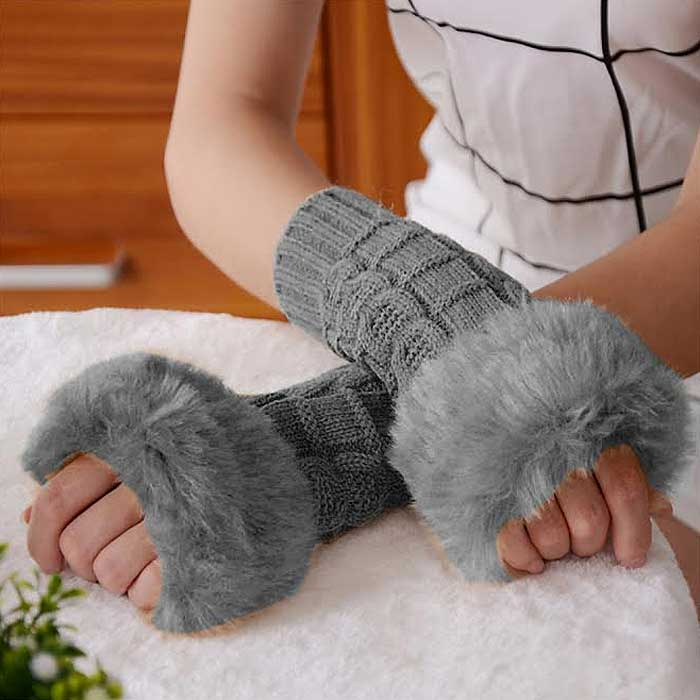 Ladies Fingerless Faux Fur Knitted Gloves - 3 Colors