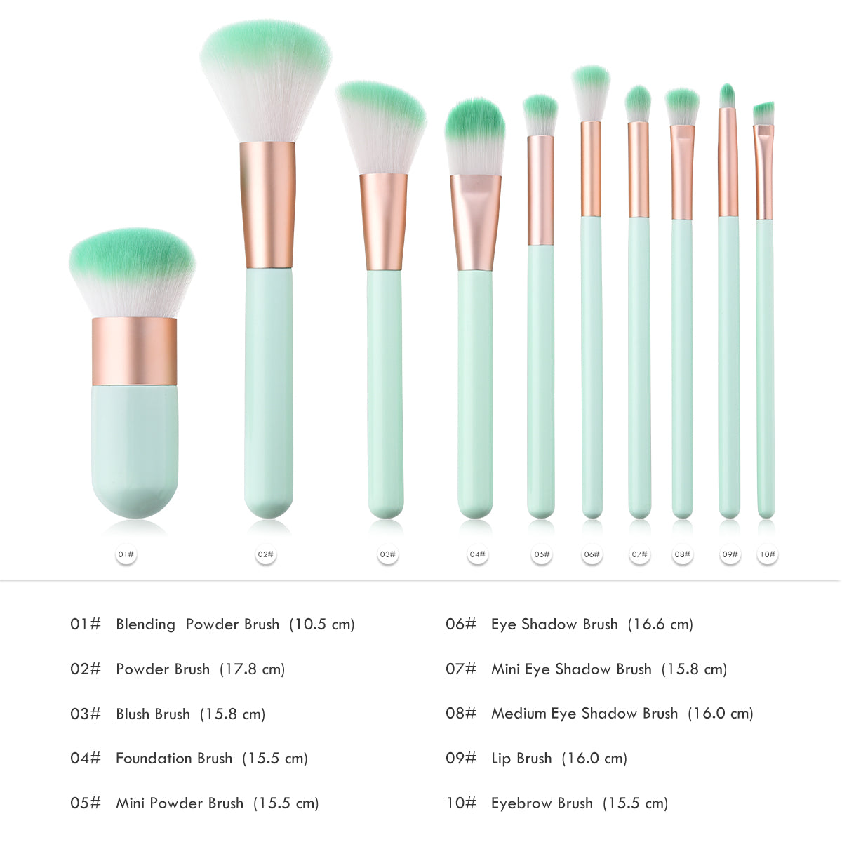 10-Piece: Complete Makeup Brush Set