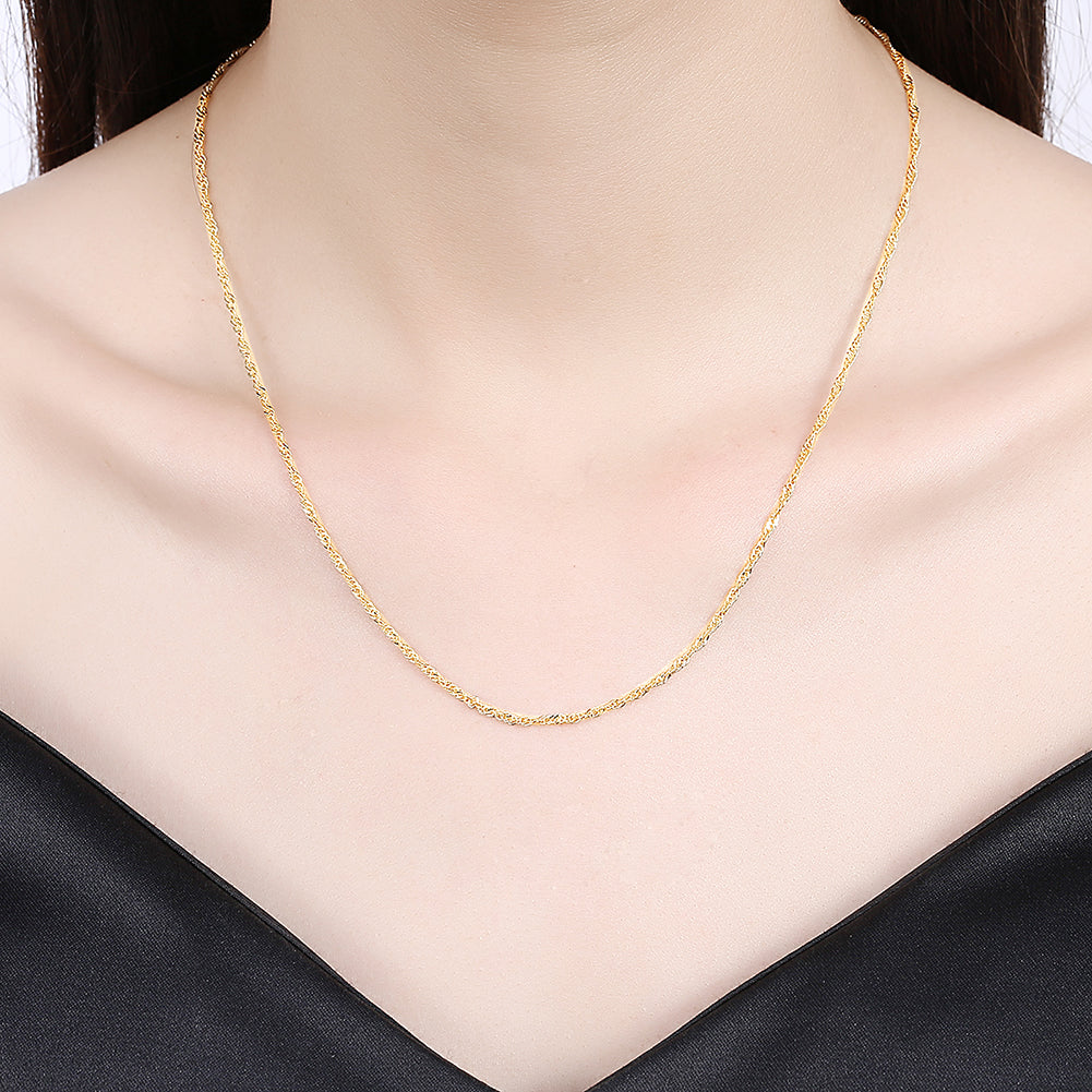 Unisex Solid Italian Rope Chain in 14k Gold Plated
