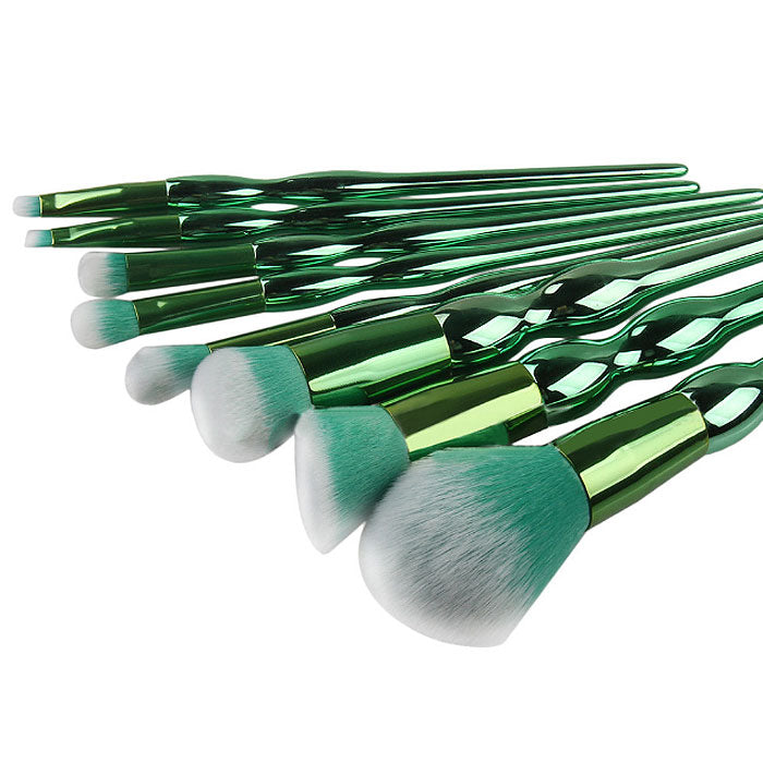 8-Piece: Professional Emerald-Colored Makeup Brush Set
