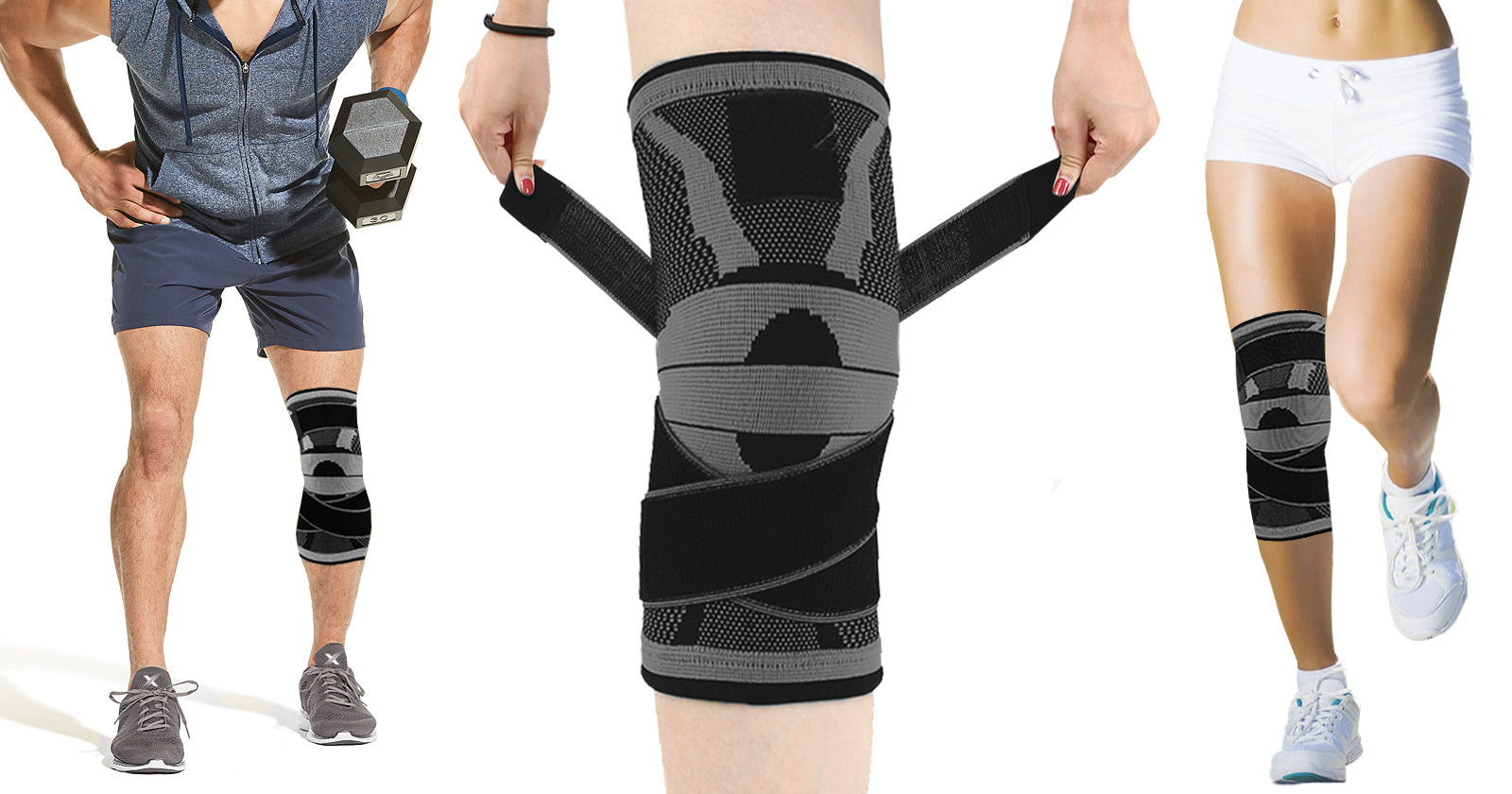 3D Knee-Compression Sleeve with Adjustable Straps