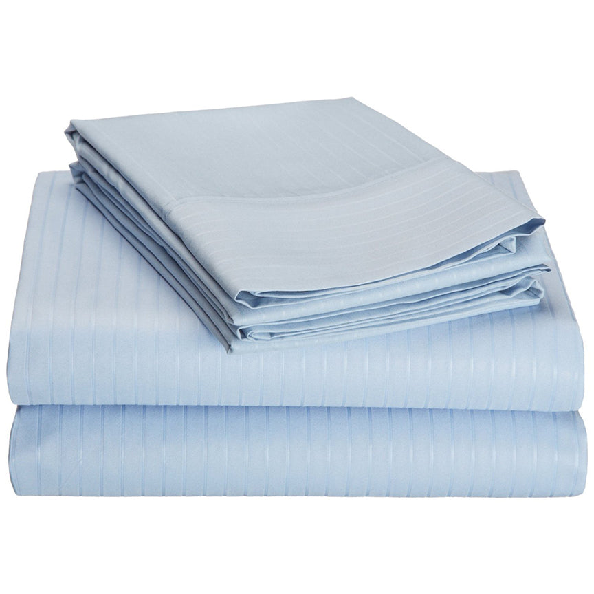 4-Piece Set : Super-Soft 1600 Series Pinstripe Embossed Bed Sheet