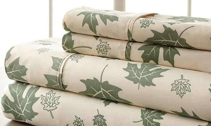 4-Piece Set: Super-Soft 1600 Series Falling Leaves Sheets