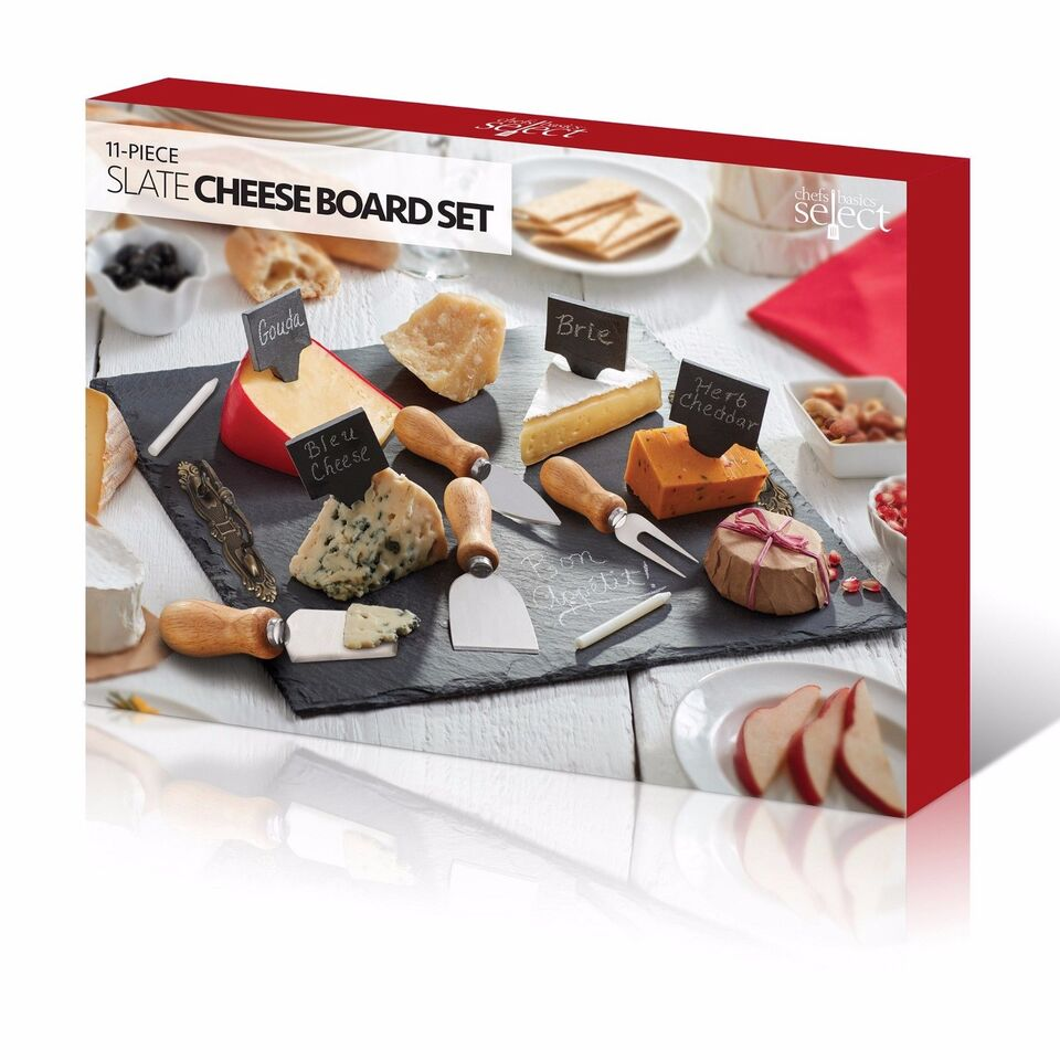 11-Piece Slate Cheese Board Set