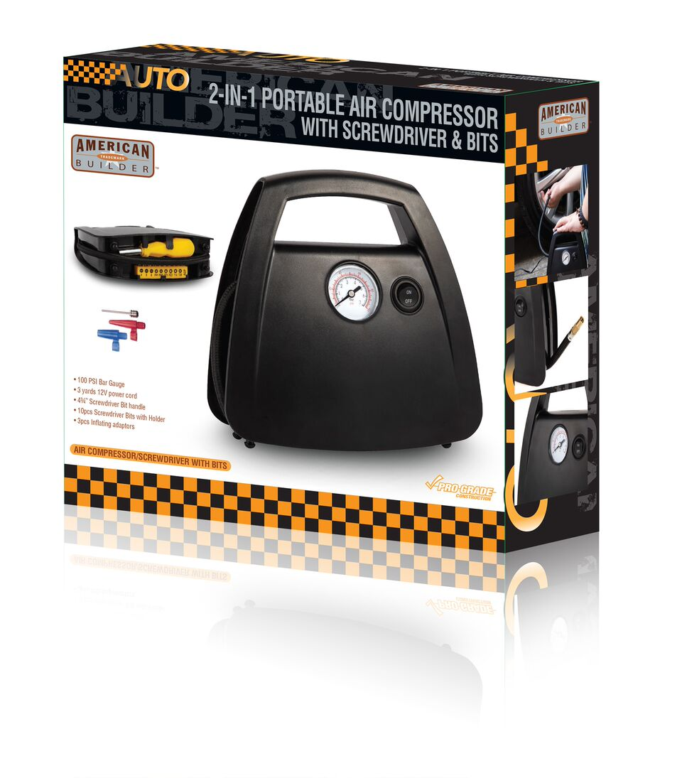 2 in 1 Portable Air Compressor with Screwdriver and Bits