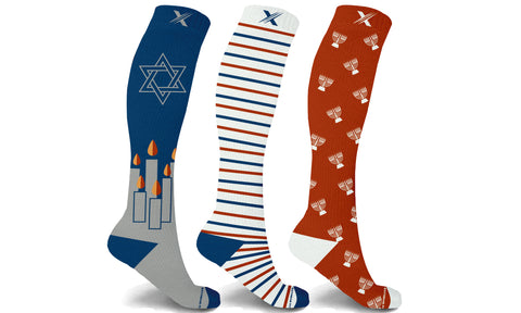Hanukkah Celebration Knee High Compression Socks (3-Pairs)
